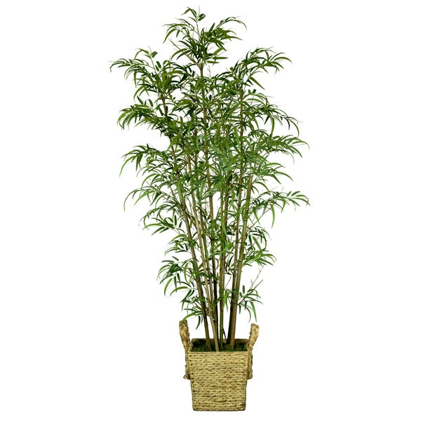 Laura Ashley Realistic Silk Bamboo Tree with Wicker Basket Planter
