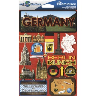 "Jet Setters International Dimensional Stickers 4.5""X6.75""-Germany"