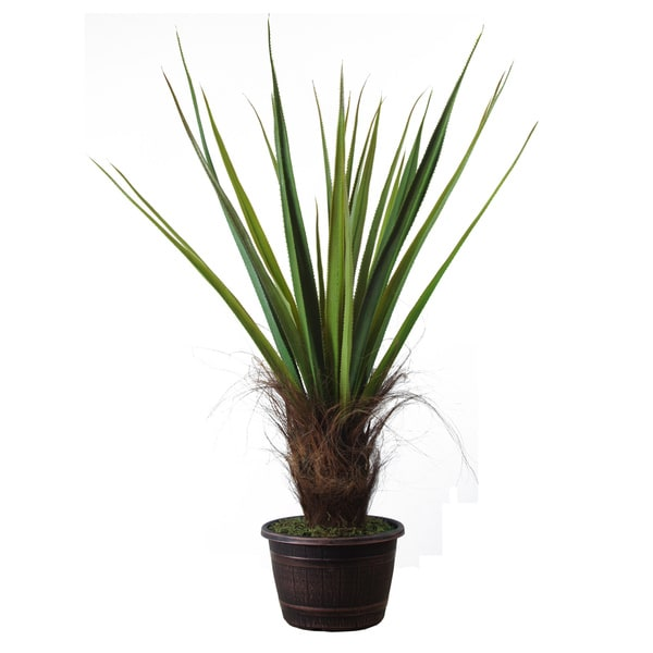 Laura Ashley Realistic Silk Giant Agave Plant with Contemporary Planter