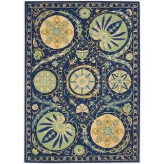 Hand-tufted Suzani Blue Floral Medallion Rug (8' x 10'6)