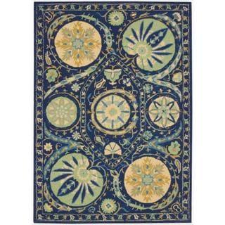 Hand-tufted Suzani Blue Floral Medallion Rug (8' x 10'6)