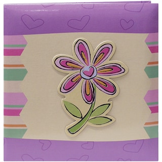 "3-D Applique Striped Albums 12""x12""-Flower"