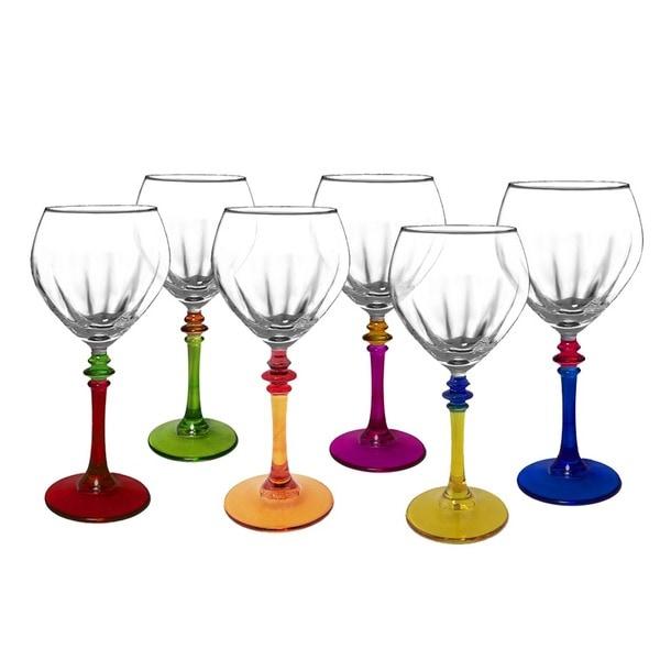 Italian Multicolor Fun Wine Glasses (Set of 6) 10470604
