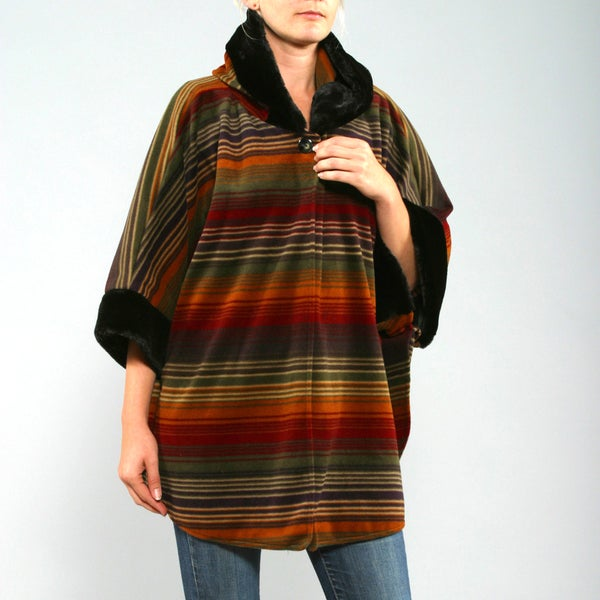 Black Mountain Women's Rust Stripe Poncho