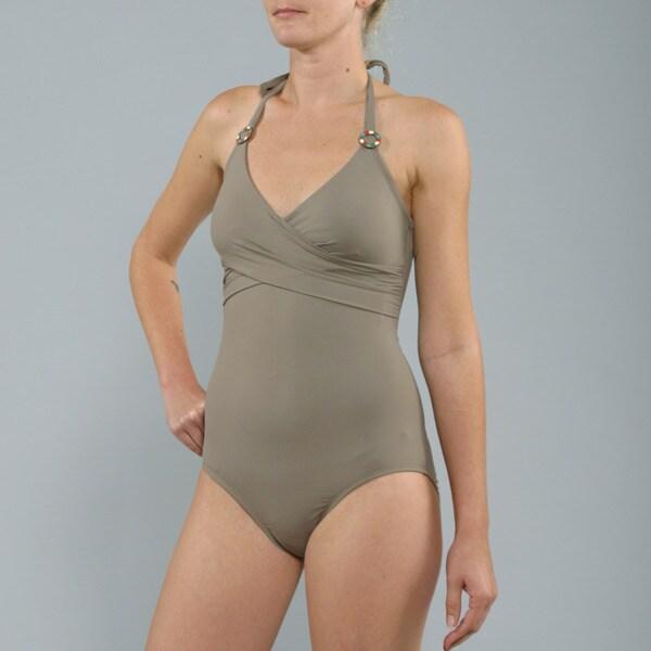 Anne Cole Tusk 1-piece Draped Halter Swimsuit