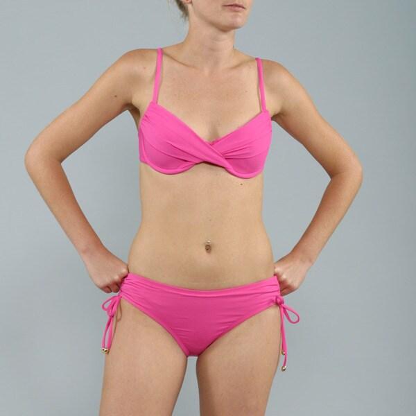 Anne Cole Pink Side-tie Hipster Bikini 2-piece Swimsuit