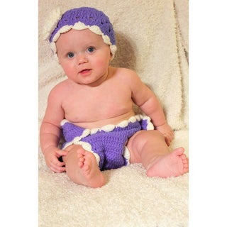 Fancy Pansy Purple Beanie and Diaper Set