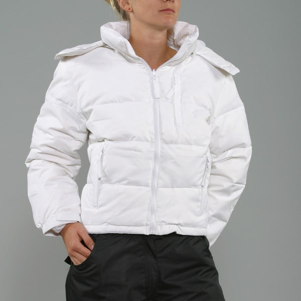 Sportscaster Women's White Hooded Snowboard Jacket