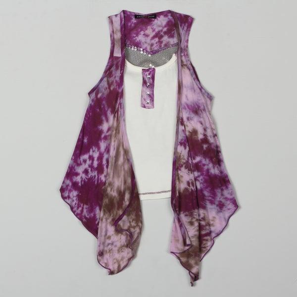Sweetheart Jane Girl's 2fer Tie Dye Sequined Top