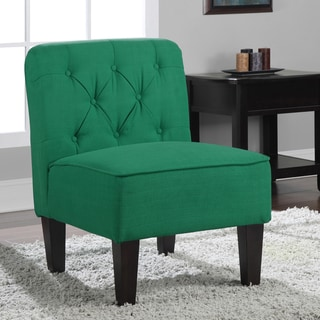 Tufted Emerald Green Slipper Chair