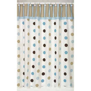 Blue and Brown Mod Dots Shower Curtain