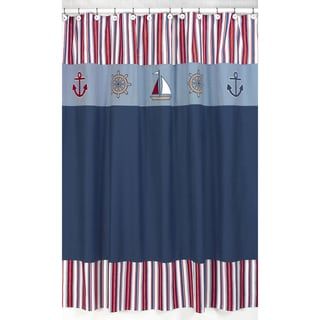 Sweet Jojo Designs Nautical Nights Sailboat Kids Shower Curtain