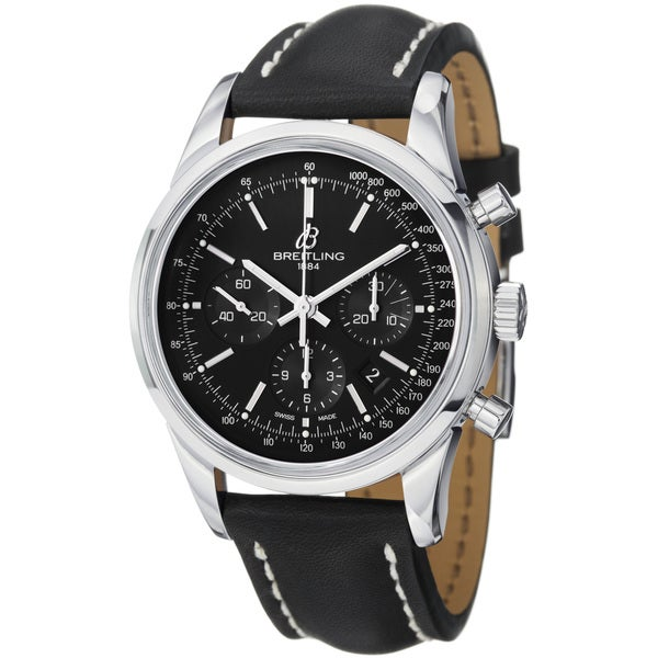 Breitling Men's 'TransOcean' Black Dial Leather Strap Automatic Watch