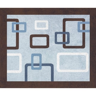 Sweet JoJo Designs Blue and Brown Geo Cotton Floor Rug