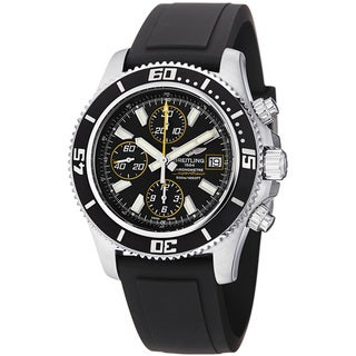 Breitling Men's 'SuperOcean Chrono' Black Dial Rubber Strap Watch