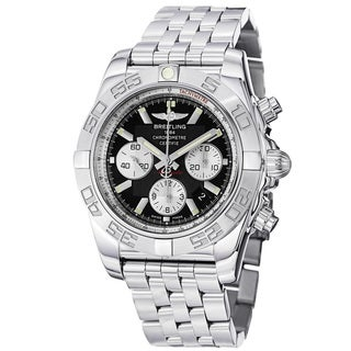 Breitling Men's 'Chronomat B01' Black Dial Stainless Steel Watch