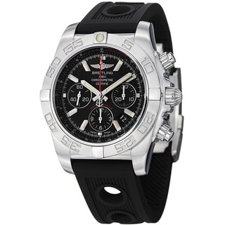 Breitling Men's 'Chronomat' Black Dial Black Strap Automatic Watch