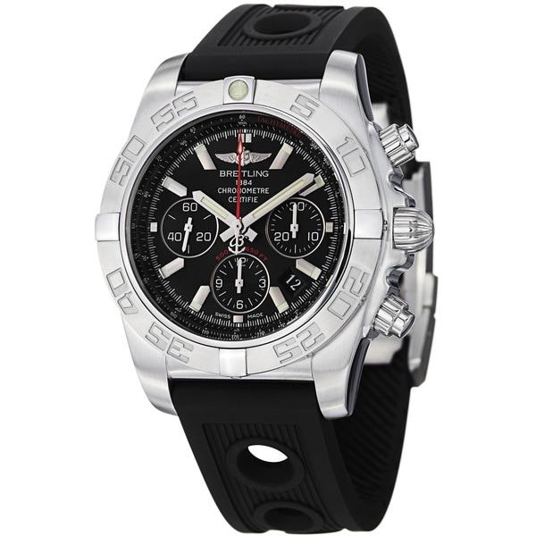 Breitling Men's 'Chronomat' Black Dial Black Strap Automatic Watch