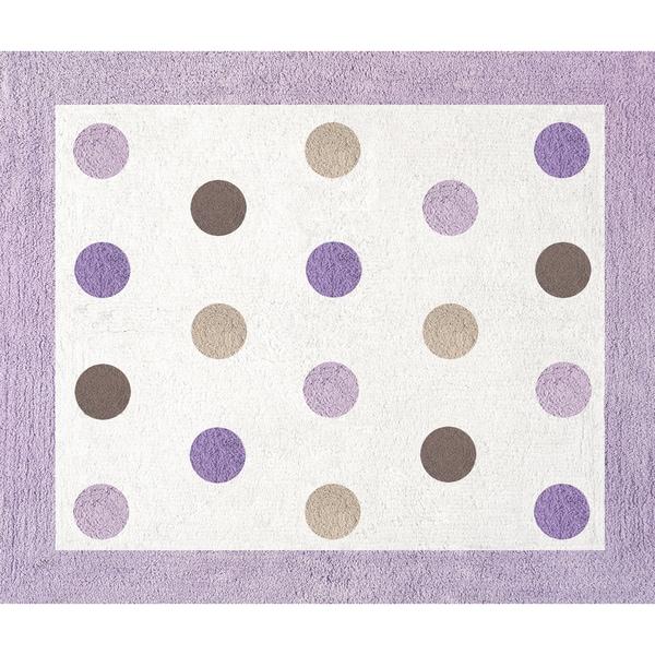 Sweet JoJo Designs Purple and Brown Mod Dots Cotton Floor Rug