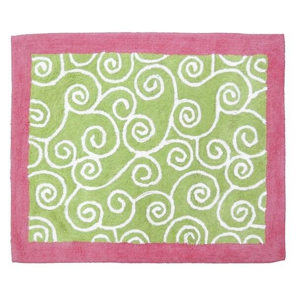 Sweet JoJo Designs Olivia Pink and Green Cotton Floor Rug