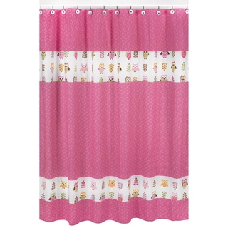 Pink Happy Owl Kids Shower Curtain