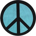 Sweet Jojo Designs Turquoise Groovy Peace Sign Cotton Floor Rug