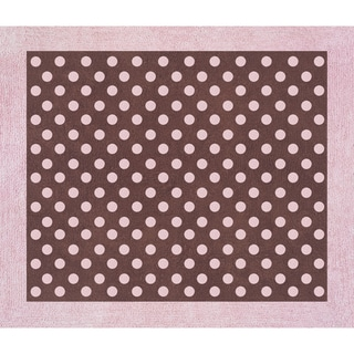 Sweet JoJo Designs Pink and Brown Mini Polka Dot Cotton Floor Rug