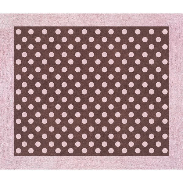 Sweet JoJo Designs Pink And Brown Mini Polka Dot Cotton