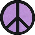 Sweet JoJo Designs Purple Groovy Peace Sign Cotton Floor Rug