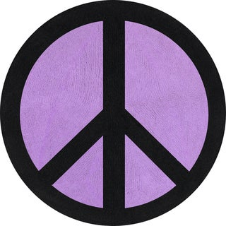 Sweet JoJo Designs Purple Groovy Peace Sign Cotton Floor Rug