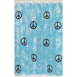 Sweet Jojo Designs Turquoise Groovy Peace Sign Tie Dye Shower Curtain