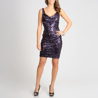 Women's Mulberry Allover Sequin Cocktail Dress