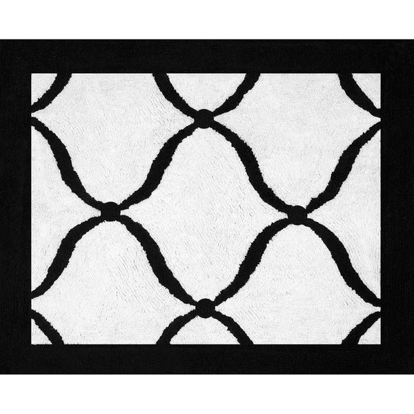 Sweet JoJo Designs Pink, Black and White Princess Cotton Floor Rug