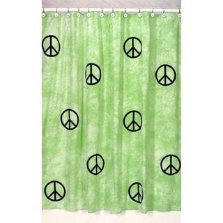 Sweet Jojo Designs Lime Groovy Peace Sign Tie Dye Shower Curtain
