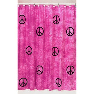 Sweet Jojo Designs Pink Groovy Peace Sign Tie Dye Shower Curtain