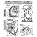 Tim Holtz Cling Rubber Stamp Set-Easter Blueprint