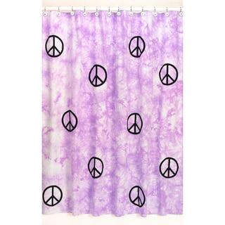 Sweet Jojo Designs Purple Groovy Peace Sign Tie Dye Shower Curtain