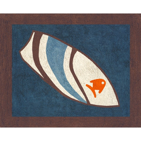Surfboard Area Rug: Sweet JoJo Designs Blue Surf Cotton Floor Rug