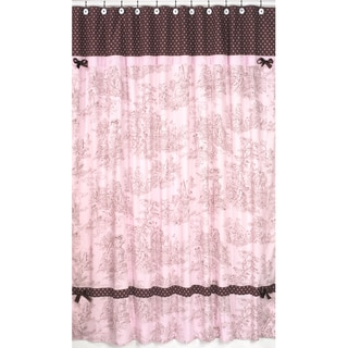 Pink and Brown Toile/Polka Dot Shower Curtain