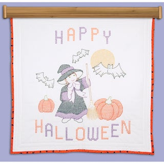 "Stamped White Wall Or Lap Quilt 36""X36""-Witch"