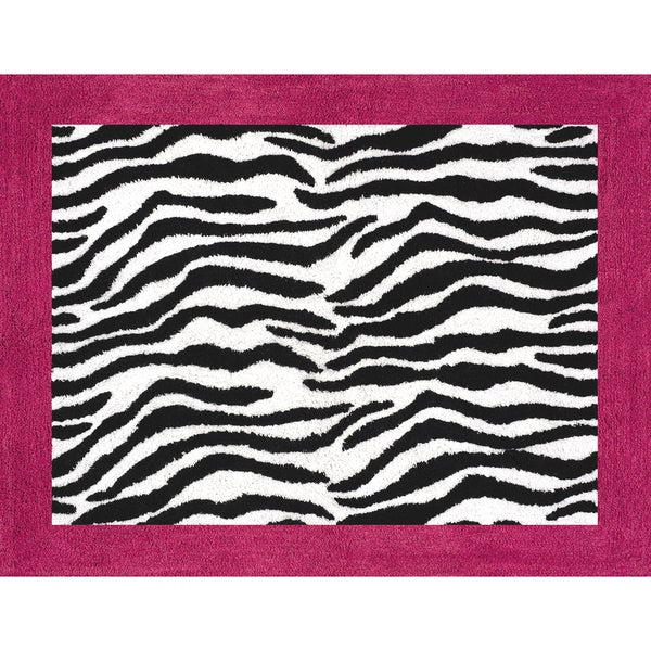 Sweet JoJo Designs Funky Zebra Pink Border Rug