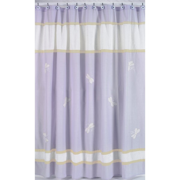 Sweet Jojo Designs Purple Dragonfly Dreams Kids Shower Curtain