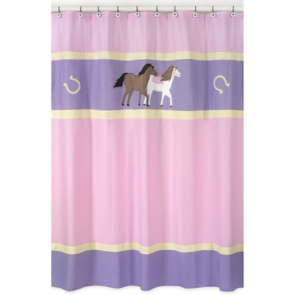 Sweet Jojo Designs Pretty Pony Horse Kids Shower Curtain