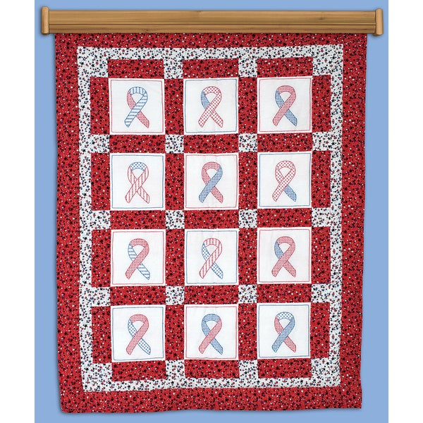 """Themed Stamped White Quilt Blocks 9""""X9"""" 12/Pkg-Ribbon For U.S.A."""