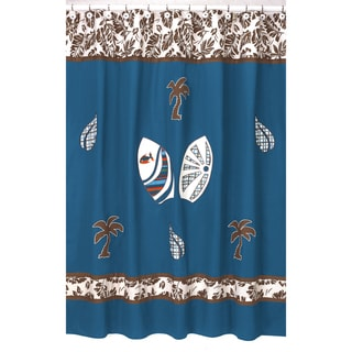 Sweet Jojo Designs Tropical Hawaiian Blue Shower Curtain