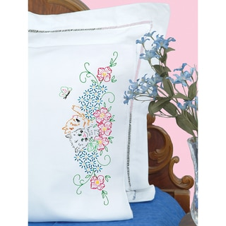 Stamped Pillowcases With White Perle Edge 2/Pkg-Kittens In Flowers