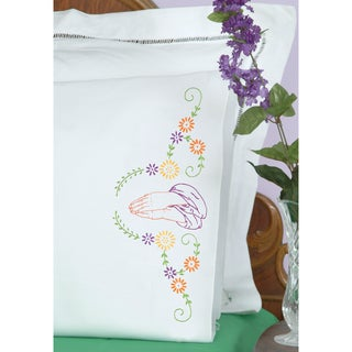 Stamped Pillowcases With White Perle Edge 2/Pkg-Praying Hands