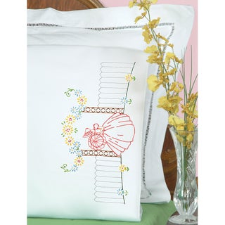 Stamped Pillowcases With White Perle Edge 2/Pkg-Vintage Lady
