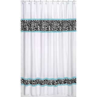 Turquoise Funky Zebra Shower Curtain