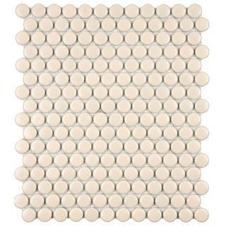SomerTile 11.5x9.875-inch Victorian Penny 3/4-inch Matte Biscuit Porcelain Mosaic Tiles (Set of 10)